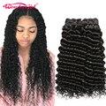 Wonder girl Deep Wave 4 Bundles Deal Peruvian Hair Bundles Remy Hair Extensions Human Hair Bundles No Tangle No Shedding