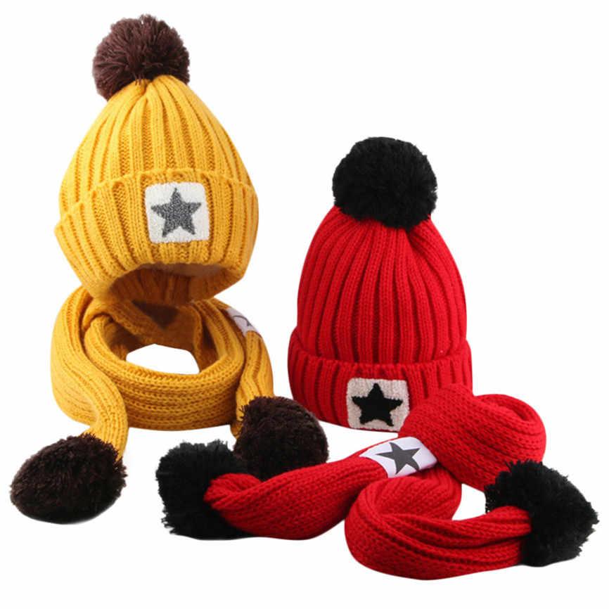 สำหรับ 2-8 ปีเด็กหมวก + ผ้าพันคอเด็กวัยหัดเดิน & เด็กทารกโครเชต์ฤดูหนาวถักหมวก Beanie hairball หมวกผ้าพันคอชุด Sep #2