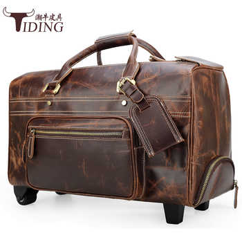 Men Travel Bag With Wheels Large Capacity 2019 Genuine Leather Man Fashion Casual Business Duffle Weekend Durable Tote Bags - DISCOUNT ITEM  33 OFF Luggage & Bags