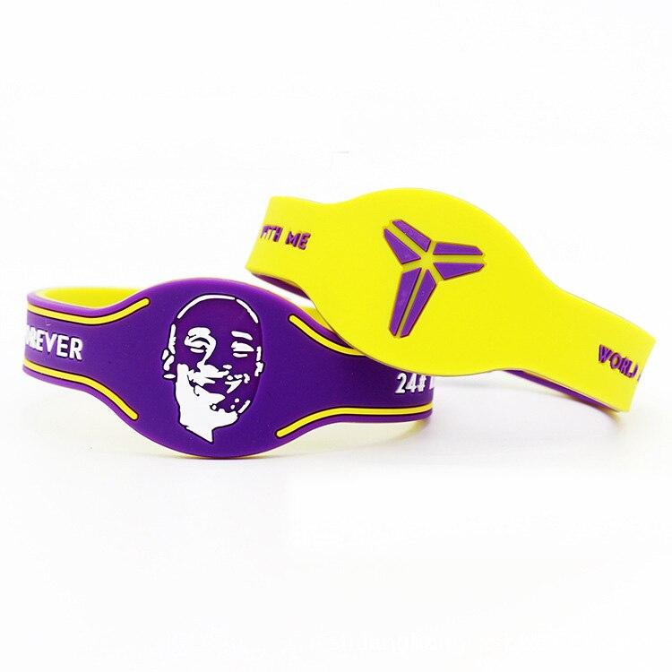 2pcs good quality super star head portrait rubber bangle two-tone silicone bracelet basketball lovers wristband for kobe
