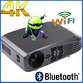 De Calidad superior 3000 ANSI lumen Android 4.4 Inteligente WiFi RJ45 Bluetooth 4 k 2205 p HD ultra Mirco DLP Real 2D a 3D Proyector beamer