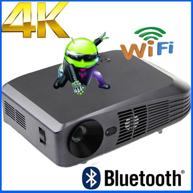 Top Quality 3000 ANSI lumen Android 4.4 Inteligente WiFi RJ45 Bluetooth 4 k 2205 p ultra HD Mirco DLP 2D para 3D Projetor beamer Real