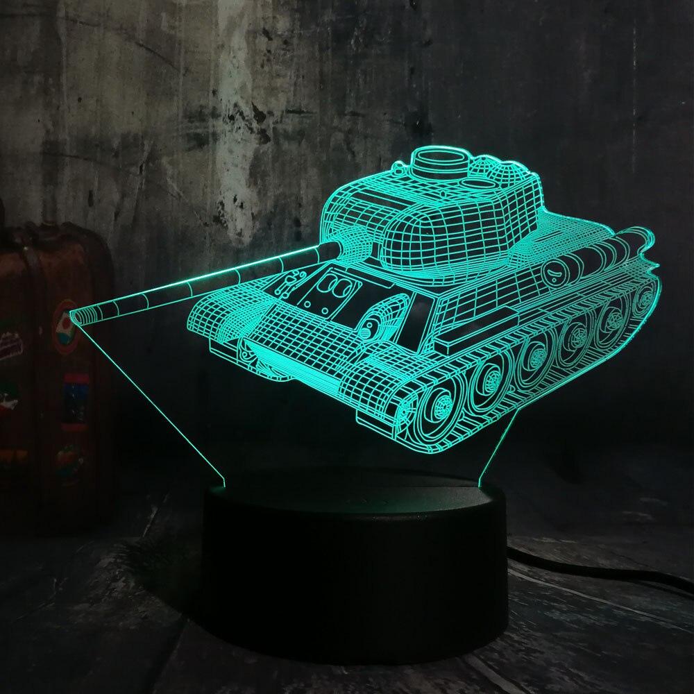 Hot Sale Cool 3D Machine Tank LED Night Light Desk Lamp Novelty 7 Color Change Atmosphere Home Decor Lustre Kids Christmas Gift