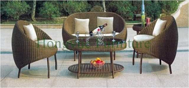 Diseños conjunto de sofás de ratán jardín al aire libre, muebles de jardín