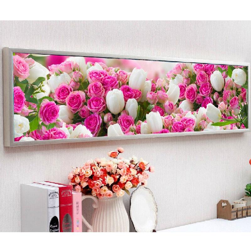 Pittura Diamante 5D Punto Croce Fiori Diamante Mmosaic Romantico Fiore Rosa Diamante Ricamo Mestieri Handmade di DIY 170*50 cm