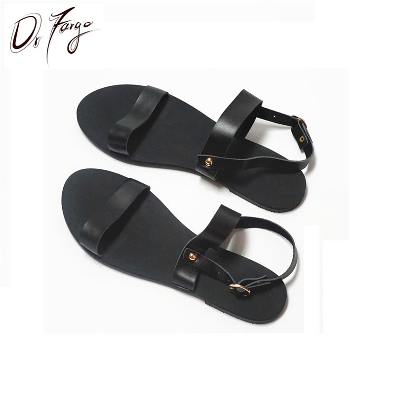 ФОТО DRFARGO Genuine Leather Classic Design Black EUR 31-46 Mujer Beach Sandals Women summer style Shoes open toed Free shipping