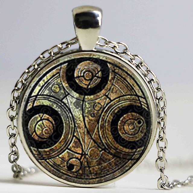 DOCTOR WHO Round Glass Pendant Time Lord Gallifreyan Necklace Glass Dome Pendant JdSwsZ
