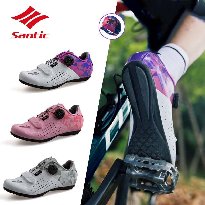 Santic Professional Non-Lock Sports Road Cycling Shoes Women Highly Tapered Hell Cup Bicycle Full Breathable Bike Shoes CiclismoSantic Professional Non-Lock Sports Road Cycling Shoes Women Highly Tapered Hell Cup Bicycle Full Breathable Bike Shoes Ciclismo