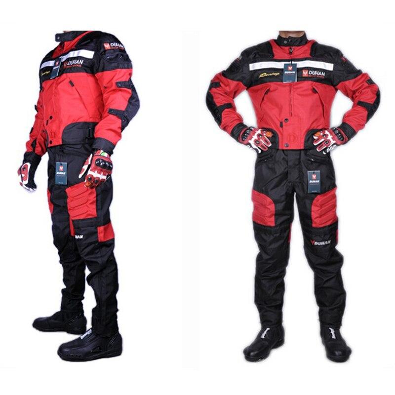 1 компл. Куртки и Штаны высокого качества Духан летние мотоциклетная куртка Штаны Гонки Оксфорд водонепроницаемый Мотокросс костюм мотоцик...