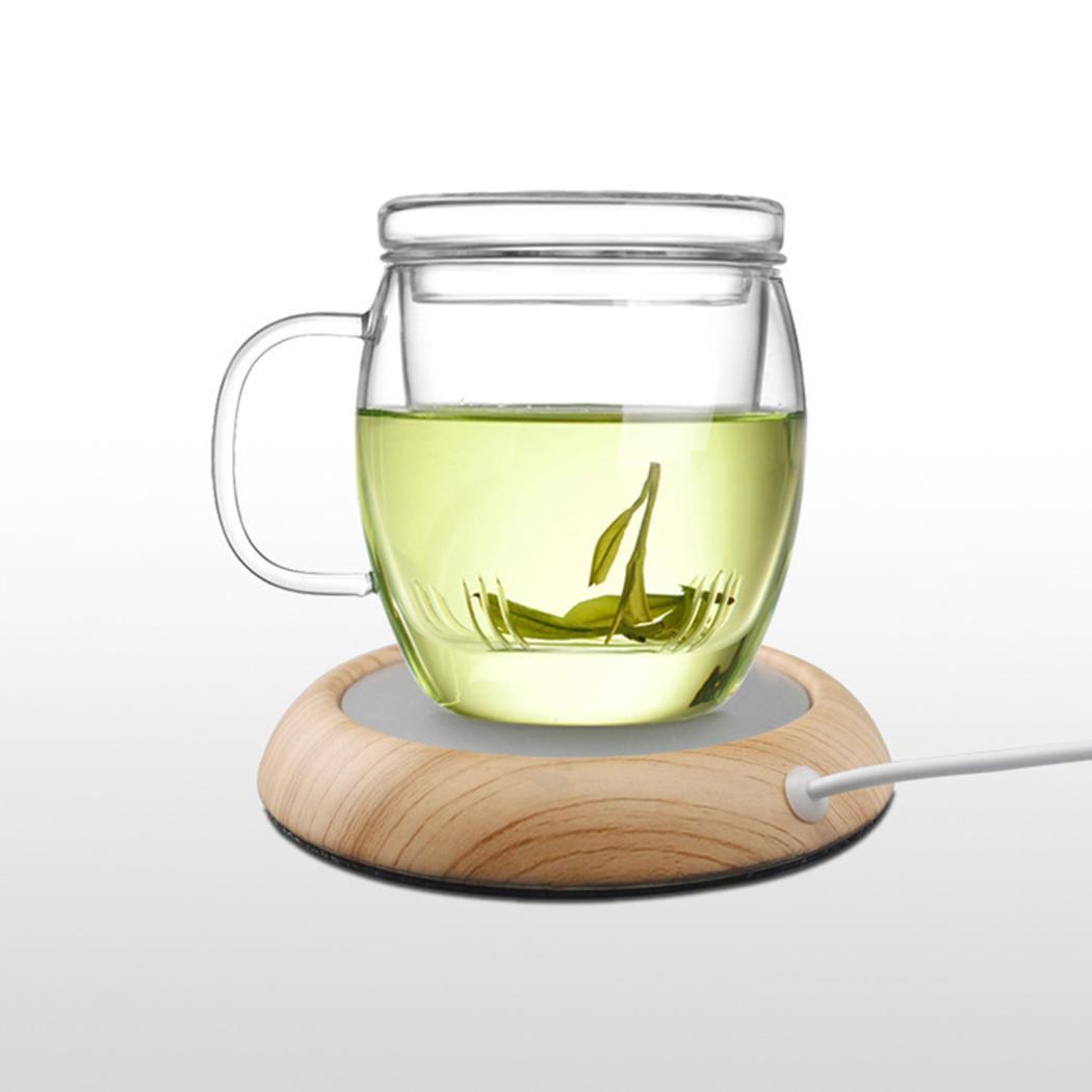 5 Colors USB Wood Grain Cup Warmer Heat Beverage Mug Mat Keep Drink Warm Heater Mugs Coaster