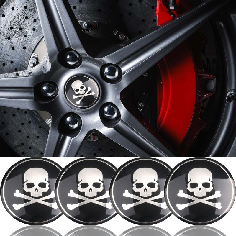 4Pcs/lot 56mm 3D Skull Car Sticker Skull Emblem Car Tyre Steering Wheel Center Hub Cap Emblem Badge Accessories Car Decoration
