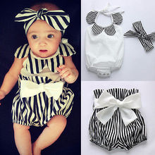 Baby Girl Bodysuit Romper Tops+Striped Shorts Bottoms+Head Band Outfits Sunsuit