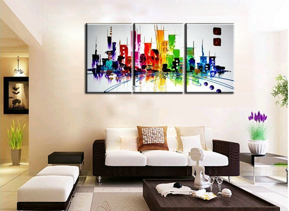 Abstract modern 3 piece canvas wall art hand painted Building font b Knife b font oil