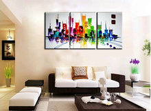 Abstract modern 3 piece canvas wall art  hand painted Building Knife oil painting on canvas for living room pictures decoration
