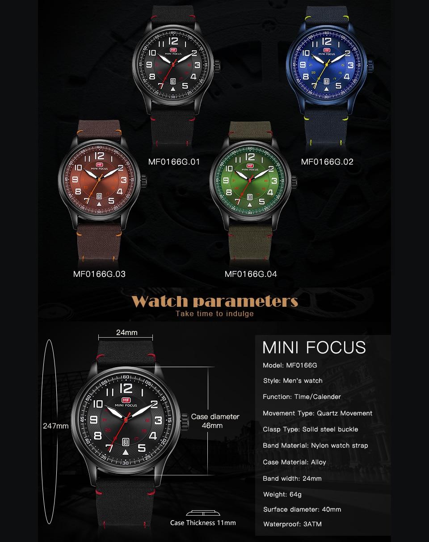 Image 3 - MINI FOCUS Military Mens Watches Marine Quartz Watch Ocean Blue Nylon Strap 3D Index Design Auto Date Fashion Relogio Masculino-in Quartz Watches from Watches