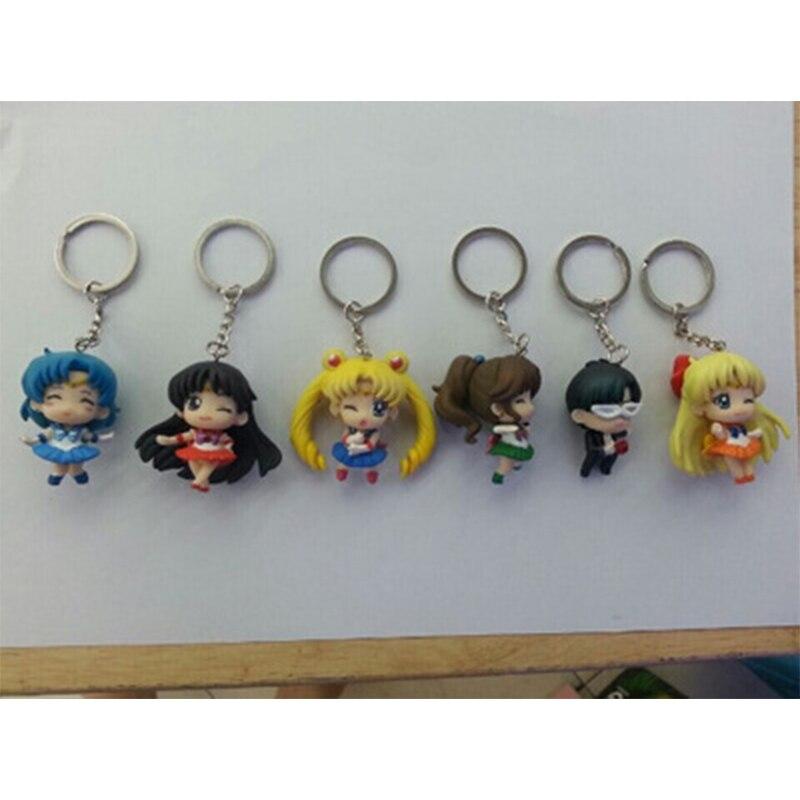 6 Pcs/lot <font><b>JP</b></font> <font><b>Anime</b></font> <font><b>Sailor</b></font> <font><b>Moon</b></font> <font><b>Keychain</b></font> <font><b>keyring</b></font> <font><b>Action</b></font> figures toy accessories