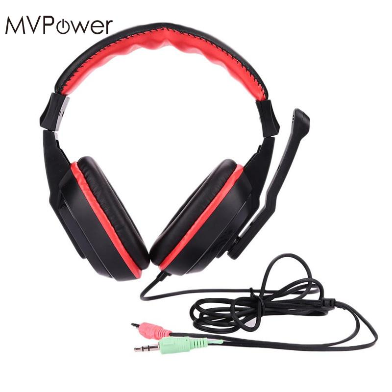 MVpower Professional Black with Red Gaming Headset Stereo Laptop Computer Game Headphone With Mic Microphone 3.5mm Jack Gift mvpower 3 5mm stereo headphone wired gaming headset with mic microphone earphones for sony ps4 computer smartphone hifi earphone
