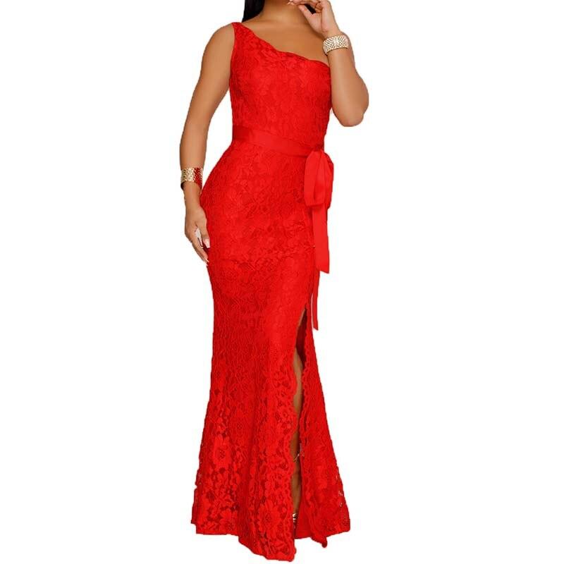 Party Dress Women Slim Lace Dresses One Shoulder Sexy Long Dress Red Vestidos Des Festa WS5475E