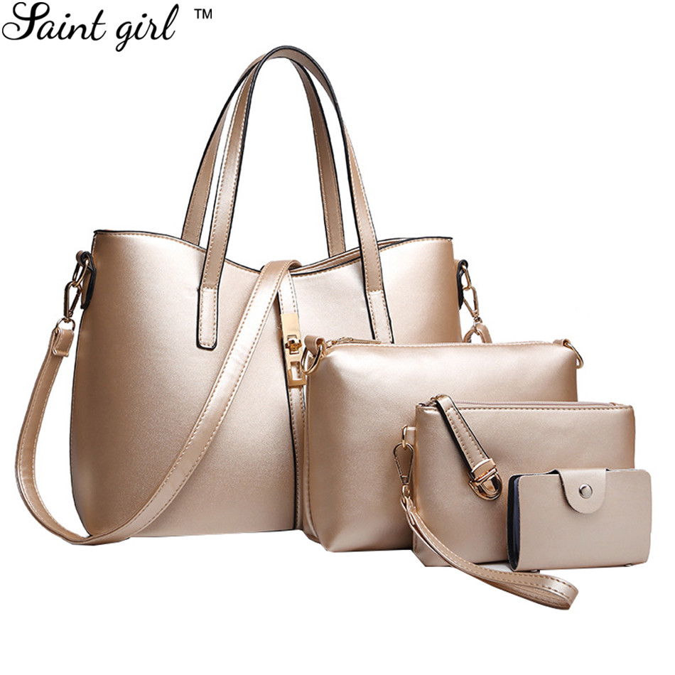 Saint Girl New 4 Pcs  Set Women Handbags PU Leather Totes Bag Ladies  Designs Bag Handbag+Messenger Bag+Purse+ Card Pack SNS285 e2c672453873f