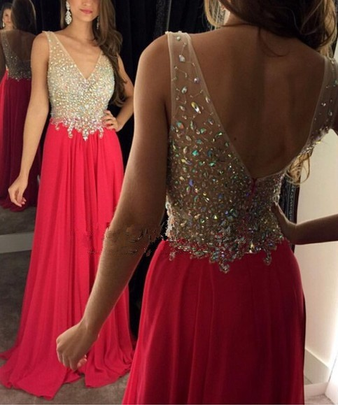 Long Prom Dresses 2017 V-Neck Sleeveless Backless Sweep Train Chiffon with Crystal...