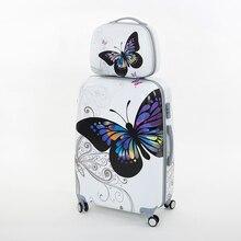 Ganze verkauf 14 «20» PC schmetterling trolley gepäck sets, weibliche reisegepäck taschen setzt auf universal-rad, mädchen niedlichen koffer