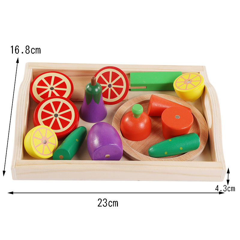 Logwood Wooden kids Classic toys Kitchen toys Cutting Fruit and Vegetable set Education Early childhood toys gifts XWJ342-