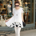 2017 summer large size women's fashion embroidered middle long chiffon shirt female plus size short-sleeved charming t-shirt