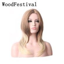 дешево✲  WoodFestival Термостойкие Синтетические Волосы Прямые Средние части смешивать цвета Парики для  Лучший!