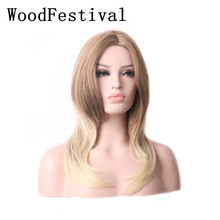 WoodFestival Womens Middle Part Wigs Straight Synthetic Long Blonde Brown Wig Cosplay Heat Resistant Women ultra long center part straight synthetic wig