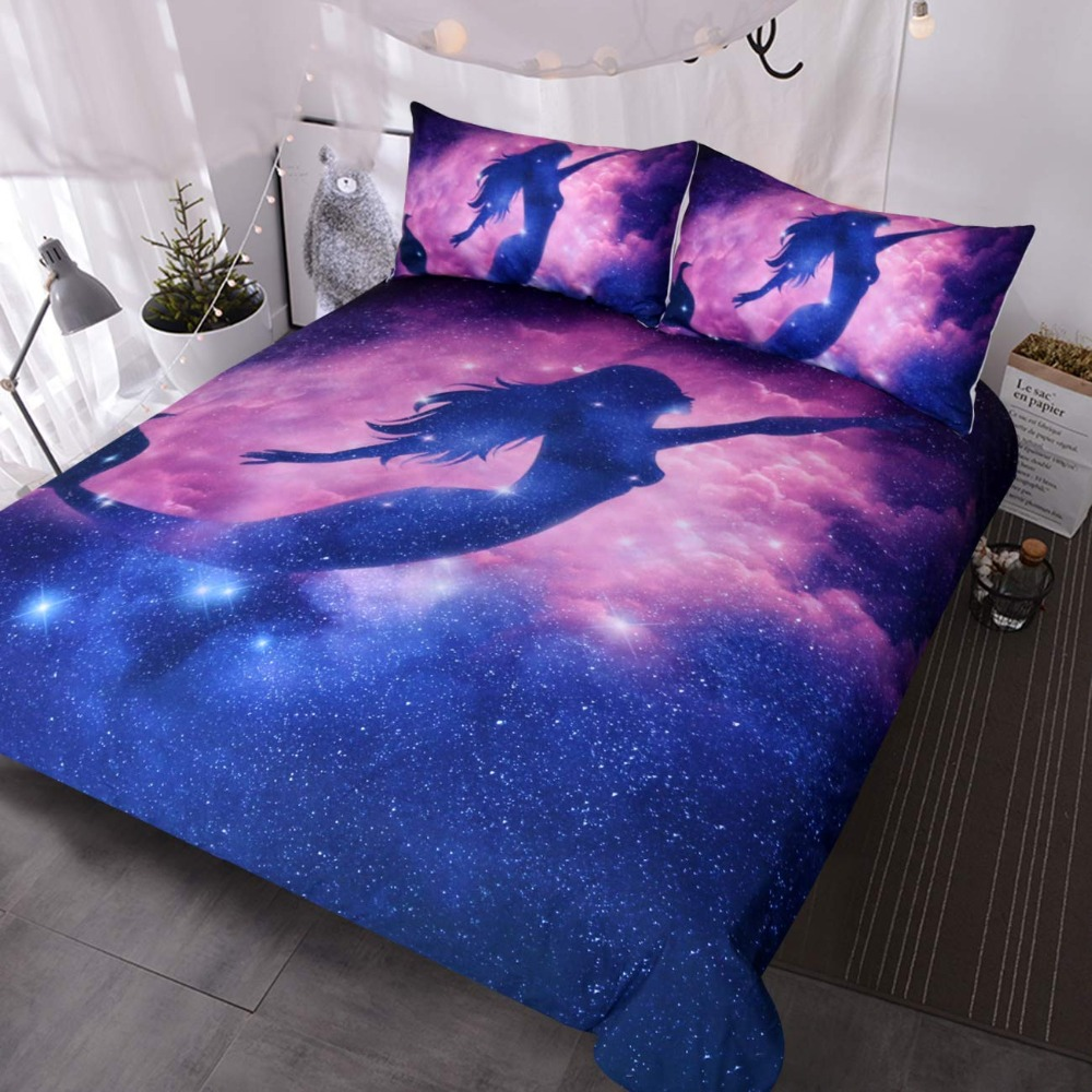 Mermaid Bedding Full Size 3 Piece Pink Purple Galaxy Bedding Duvet Cover Set Kids Boys Outer Space Bed Spread