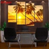 4 Teile/satz Golden Sunset Seaview Mit kokospalmen Leinwanddruck Malerei Schöne Landschaft Bild Für Hauptwanddekor