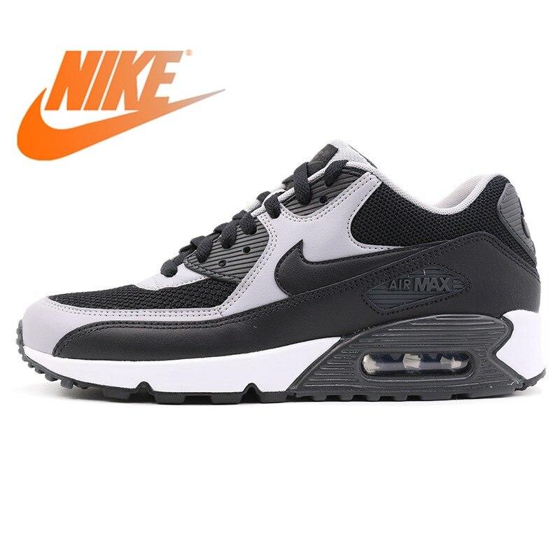 Original auténtico 2018 NIKE AIR MAX 90 esencial bajo de goma zapatos de correr para hombre zapatillas transpirables al aire libre zapatillas 537384