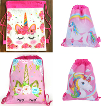 12pcs 34*27cm flower unicorn cartoon non-woven bag fabrics drawstring backpack,schoolbag gift bags