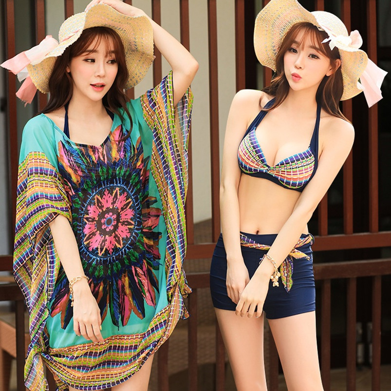 ФОТО C XL D.E.F cup skirt bikinis three piece big chest small chest spring steel support gather swimsuit girl