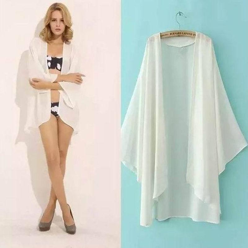 Chiffon Kimono Cardigan Feminino 3/4 Batwing Sleeve Loose White Black Women Blouses Shirts Summer Tops Outerwear
