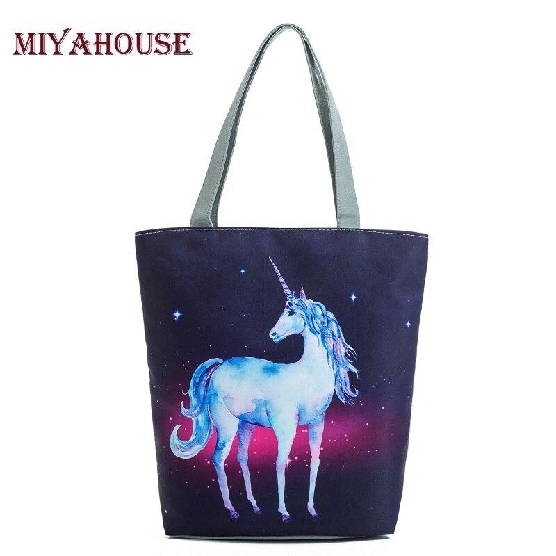 Casual Unicorn Design Beach Bags For Women Single Shoulder Bag Galaxy Space Shopping Bag Women Canvas Tote Handbag