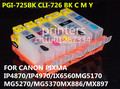 Pgi-725 CLI726 cartucho recarregável para canon PIXMA IP4870 IP4970 MG5370 MG5170 MG5270 IX6560 MX886 MX897 chip de reset automático