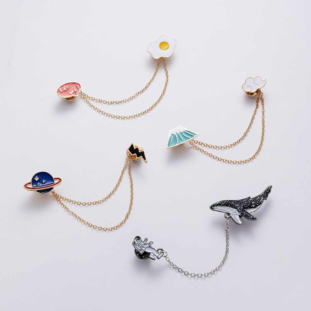 Rinhoo High Quality Astronaut Whales Fish Cartoon Brooches Women Men Animal Tassel Cute Pin Lapel Badges Fashion Jewelry Gift