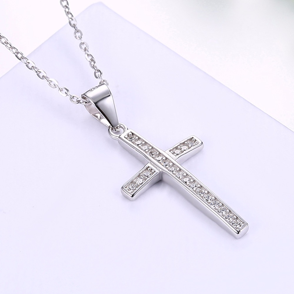 67aeb204a98 2019 LEKANI 925 Sterling Silver Cross Pendant Necklace Religious ...