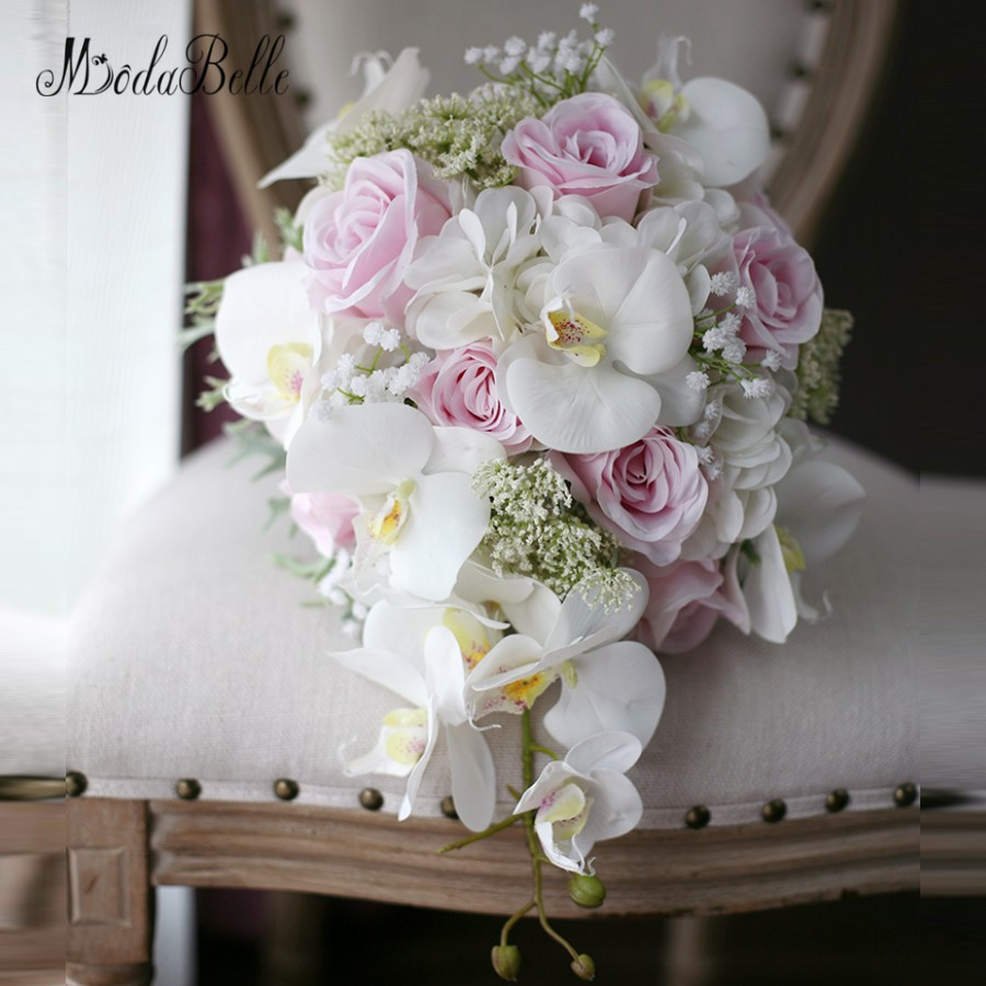 modabelle ivory pink cascading bridal bouquets de mariage roses orchid artificial silk flower. Black Bedroom Furniture Sets. Home Design Ideas