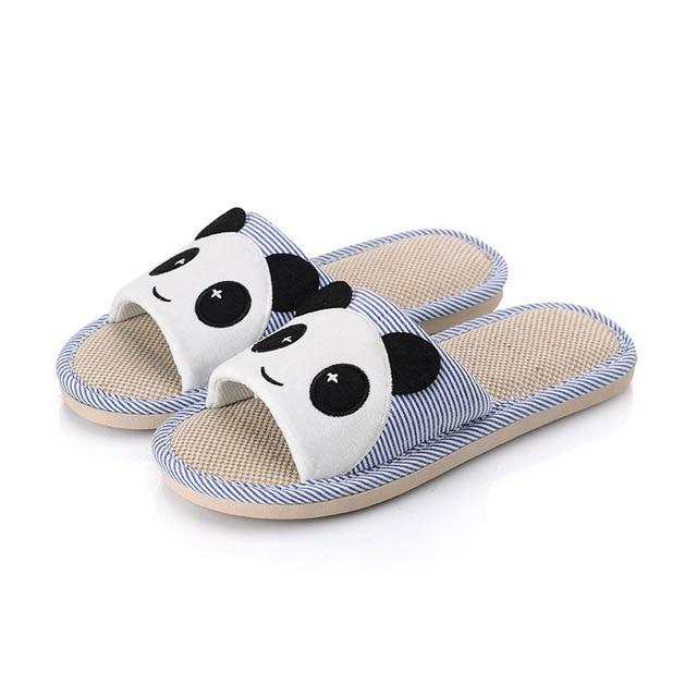Cartoon Women's House Slippers anda Cute Flax Indoor Floor Shoes Couple Silent Summer Autumn Men Slippers