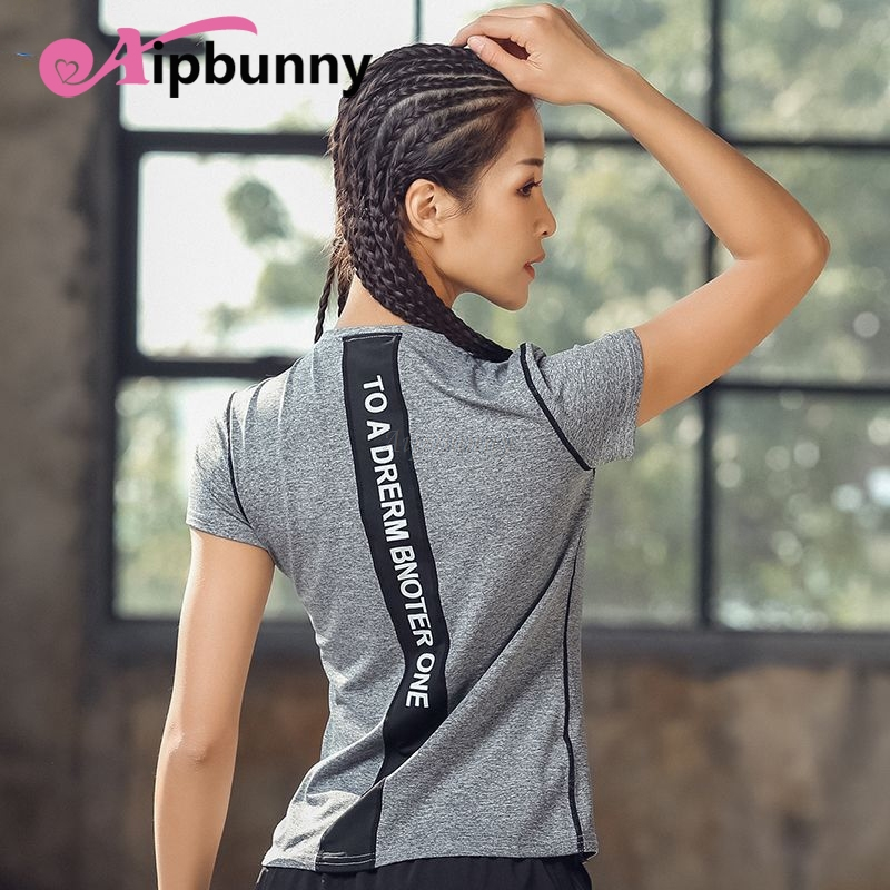 Aipbunny Yoga Shirt for Fitness Women Running Sports Woman T Shirt Gym Quick Dry Sweat Breathable Exercises Short Sleeve Tops