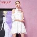 Yigelila 61296 últimas nuevas mujeres sexy halter white lace dress