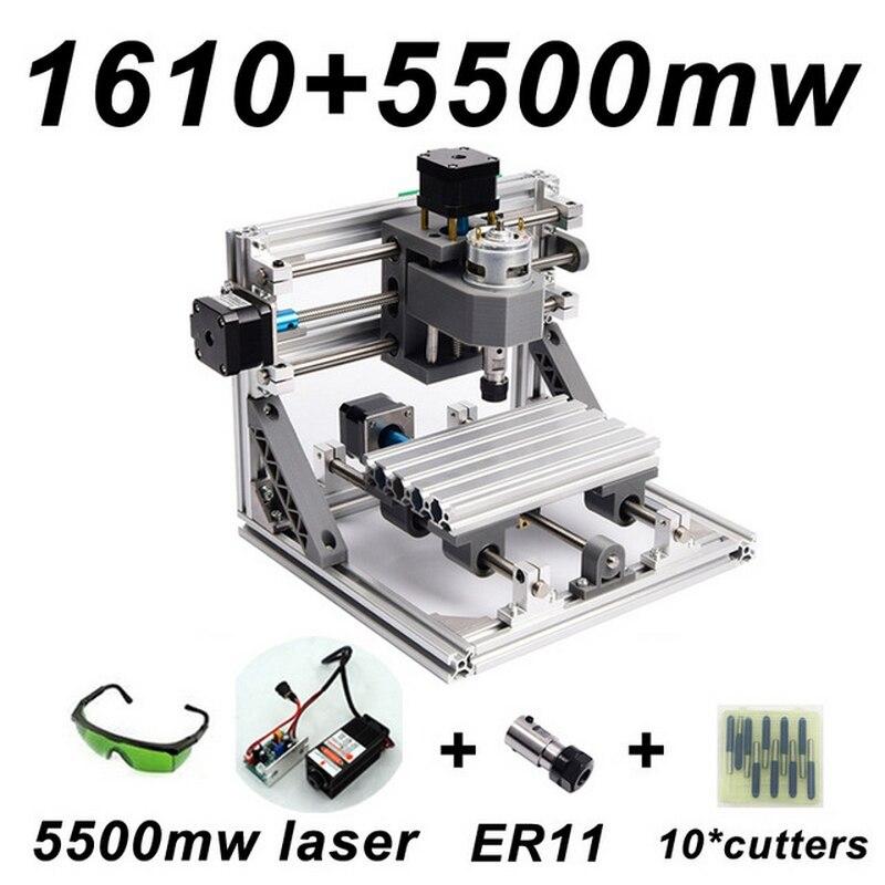CNC1610 5500 МВт лазерной гравировки ER11 500 МВт 1500 МВт Голову Древесины Маршрутизатор PCB фрезерный станок резьба по дереву машина DIY grbl