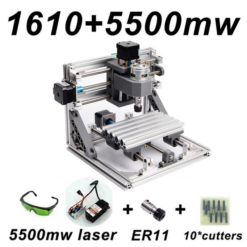 CNC1610 5500 mw Machine de gravure Laser ER11 500 mw 1500 mw tête bois routeur PCB fraiseuse bois sculpture Machine bricolage GRBL