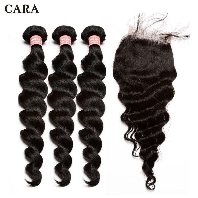 Loose Wave Bundles With Closure Brazilian Hair Weave Bundles 3 Bundles 4x4 Free Part Lace Closure Remy Human Hairf CARA