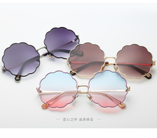 Women Sunglasses Round Floral Glasses 2019 New Arrival Shades for Vintage Pink Sexy Woman
