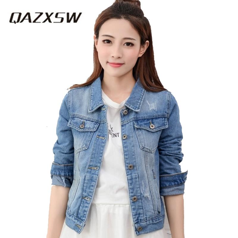 Qazxsw Women Cropped Jean Jacket Light Blue Short Denim -9953