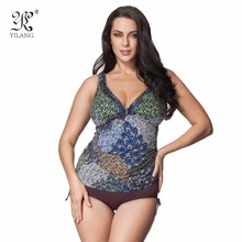 Popular Style Vintage Feather Pattern Printed One Piece Swimsuits Summer Plus Size L-7XL Vintage Swimwear Monokinis Beachwear(China)