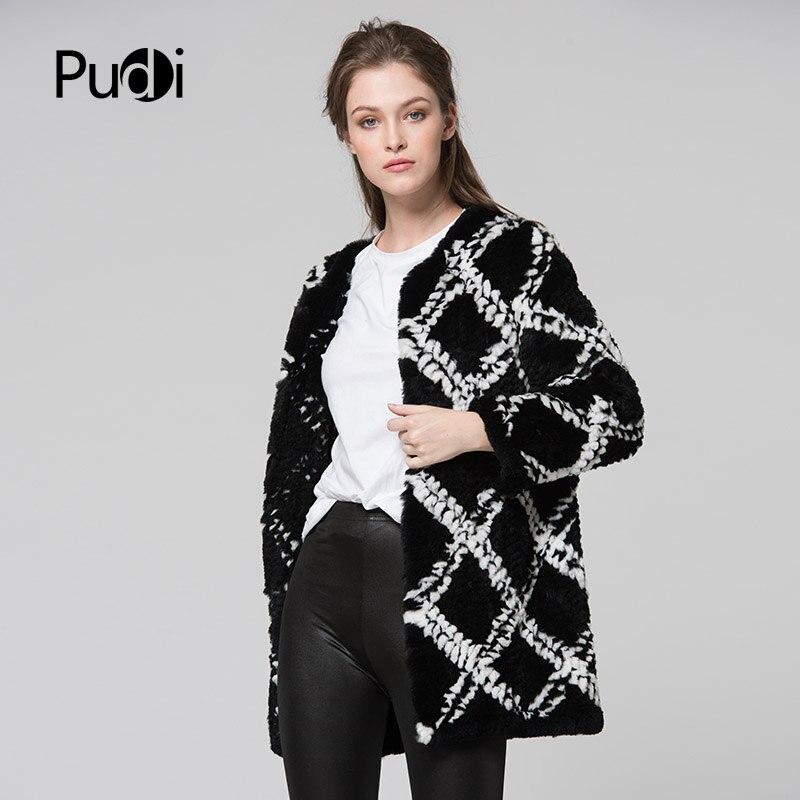 Kadın Giyim'ten Gerçek Kürk'de CR074 hakiki tavşan kürk ceket gerçek kürk örme örgü uzun tarzı ceket bayan kış sıcak artı boyutu özelleştirilmiş kürk dışarı giyim'da  Grup 2